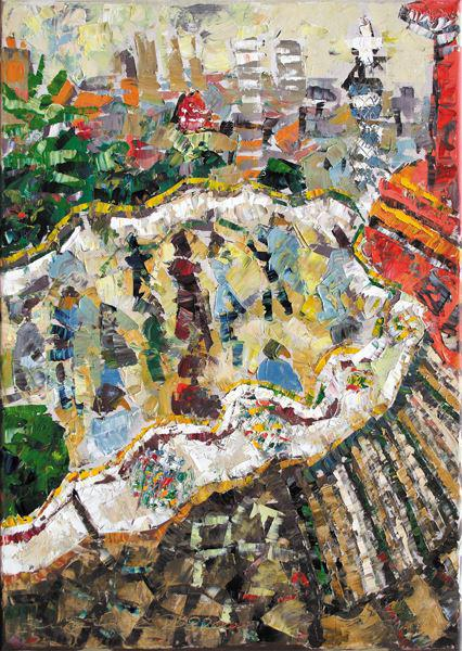(BCN-12) parc guell-barcelona-swantje crone-2004-oel-35x50